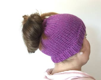 Orchid Knitted Bun Beanie (READY TO SHIP!)
