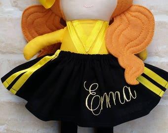 Emma Wiggle Inspired  Girl  Doll Handmade - Softie First Birthday Cloth Rag Doll - Child Friendly dolly dress up Wiggles Music Dolly
