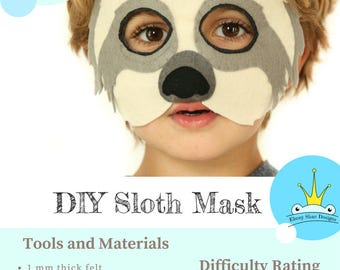 Sloth Mask PATTERN// Kids Sloth Costume Sewing Pattern PDF // DIY Kids Party Mask