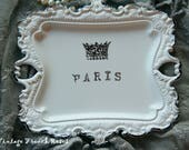 PARIS Crown Jewelry Holder Tray White Distressed Chippy Ornate Edged Ring Holder Romantic Wedding Bath French Country Cottage Style Decor