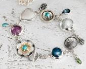 RESERVED - Multi Gemstone Bracelet, Amethyst bracelet, Turquoise bracelet, Aquamarine, Sterling Silver Bracelet - Third Payment
