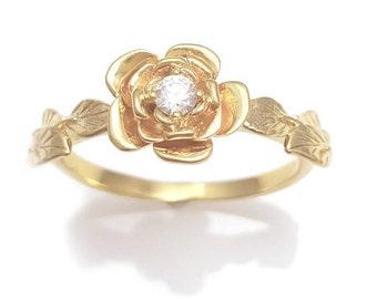 Flower Diamond Engagement Ring, Unique Engagement, 14K Flower & Leaves Ring, Vintage, Diamond Leaf Ring, Diamond Rose Ring, Flower Stackable