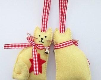 felt cat ornament, hanging cat ornament, cat ornament, cat christmas gift, cat lover ornament, cat christmas decor, cat decoration, cat gift