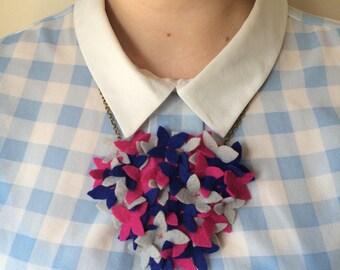 Felt Flower Necklace - Flower Cluster - Felt Bouquet