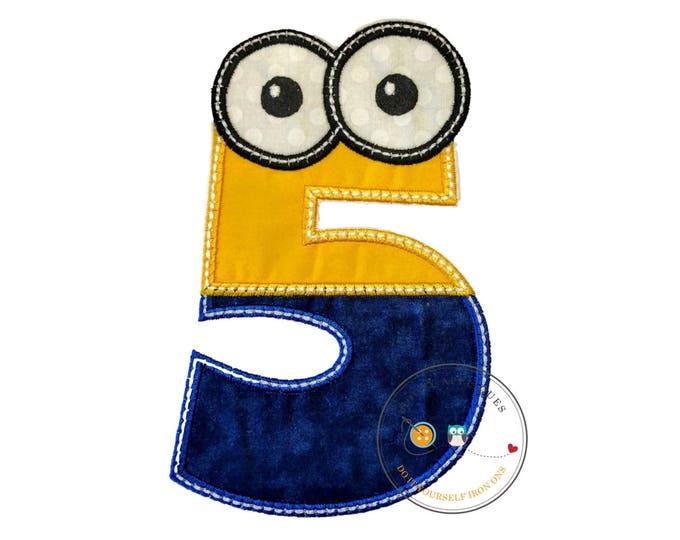 Boy little helper birthday number 5 - iron embroidered fabric applique patch embellishment- ready to ship
