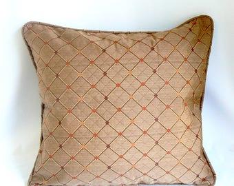 """Diamond w/ dot on brown, 20"""" Pillow"""