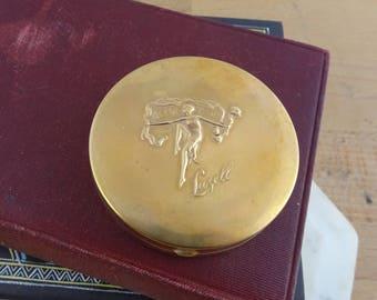 Rare Vintage Lazell Brass Powder Compact,  As The Petals, 1920's Art Deco  Brass Purse Compact Box, Lazell of New York