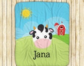"Personalized Sherpa Blanket - Farm Animal Face Sky Grass Sun Barn, Sherpa and Micro Mink Fabric, 50"" x 60"", Custom Design Throw Blanket"