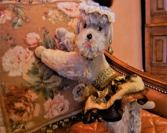 """SALE PRICED-Large Steiff Vintage Antique French Poodle Dog Snobby 14""""TX 14""""L Handmade Dressed Doll Collectible Toy Shabby Chic Decor Mint"""