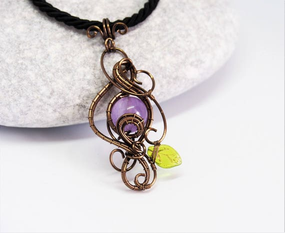 Amethyst wire wrapped pendant Gemstone necklace leaf nature jewelry Gifts for women Anniversary gift for her Christmas gift Handmade ooak