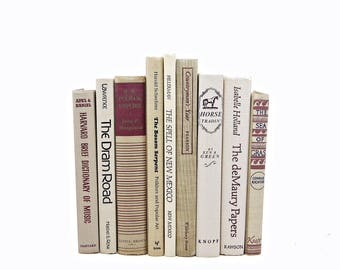 Natural Beige Books, Old Decorative Book Set, White Antique Book Decor, Photo Prop, Brown Book Collection, Wedding Decor, y