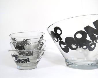 Vintage Popcorn Bowls Set // Mid Century Modern Typography Mod Style Serving Set Large Party Bowl and Four Snack Bowls Black Lettering