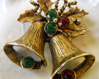 Vintage Christmas Brooch, Holiday Bell Brooch, Gold and Rhinestone Bell Pin, Holiday Party Jewelry, Christmas Gift