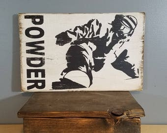 SNOWBOARD - POWDER - MOUNTAIN - Snowboarder riding fresh powder - Hand Painted Rustic Wooden Sign