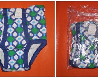 DEADSTOCK Boy's Underwear 1970s Unworn Bright Abstract Diamond Pattern Cotton Briefs NIP German Conta Mod Blue Green sz 128