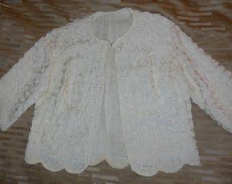Vintage 1950s Ribbon Jacket White Soutache Rosette Ribbon Top Jacket Great Details Rockabilly Wedding Bridal Elegant M chest to 38 in