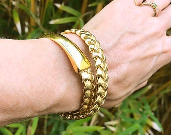 Gold Leather Wrap Bracelet for Women, Braided Leather Bracelet, Leather Jewelry, Wrap Leather Bracelet, Leather Braided Bracelet For Her
