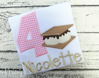 S'mores Birthday Shirt - Pink Gingham - Pink and Gold - Camping Party - Outdoors Birthday - Fourth Birthday - Applique Shirt - Picnic