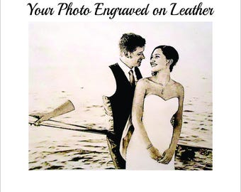 3rd Wedding Anniversary Gift for Him - Have His Favorite Wedding Photo Engraved on Leather for Your 3rd Anniversary 4x6, 5x7 or 8x10