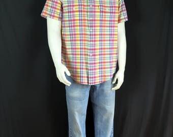 Polo Ralph Lauren shirt Men's short sleeve shirt 90s vintage clothing Hipster button up shirt Epaulets cotton madras summer plaid shirt XL