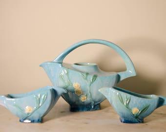 Authentic Roseville Snowberry Tea Set 1TP, 1C, 1S Blue Pink Green