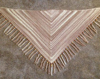 Cappuccino Rustic Chic Shawl with Beads