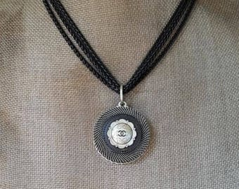 Designer Button Necklace, Multi Chain Necklace Black and Silver with Iconic Designer Button, Birthday Gifts, Button Jewelry veryDonna