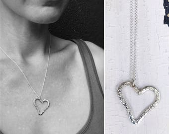 Sterling Silver Heart Necklace - Large Sterling Open Heart - Hammer Formed - Hammered Texture