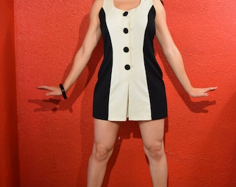 1960s Playsuit Mod Style Black & White Pinup Panel