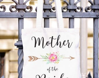 Mother of the Bride Gift, BOHO Wedding Gift for Mother of the Bride, MOB Wedding Gift, Mother of the Bride Canvas Tote MOB Wedding Gift TPH5