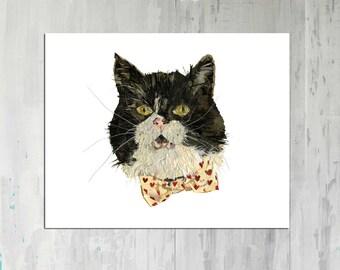 Pet portrait Botanical print Cat Portrait Cat art Pressed flower pet portrait Pet art Animal Portrait Pessed flower art Dried flowers decor