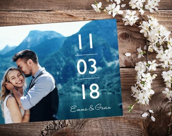 Save The Date Magnet, Card or Postcard . Modern Clean Vertical Date