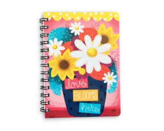 Floral Notebook - Journal - Diary - Gift for Her - Love Blooms Here - Notebook