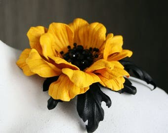 Yellow Leather Anemone Flower Brooch/Hair Clip