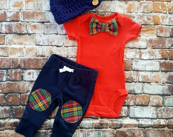 Baby Boy Coming Home Outfit Set. Bow Tie Bodysuit, Knee Patch Pants & Button Newsboy Hat. Baby Shower Gift. Gender Reveal. Newborn Photo's