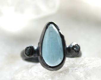 20% OFF SALE aquamarine ring, diamond ring, blue diamond, raw diamond, rough diamond, recycled silver, sterling silver, oxidized silver ring