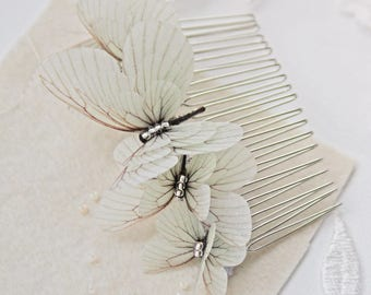 Bridal hair comb, bridal headpiece, butterfly hair comb, wedding headpiece, gray wedding hair comb, crystal hair comb, bridal accessories