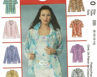 2000s McCalls 3610 Misses EASY Shirt & Top Pattern Womens Blouse Sewing Pattern Size 8 10 12 14 Bust 31 32 34 36, Uncut New, HermionesCloset