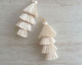 Cha Cha Cream Silk Tassel Earrings,Champagne Earrings, Ivory Tassel Earrings, Bridal Jewelry, Wedding Earrings, Dangle Earrings, Party Time