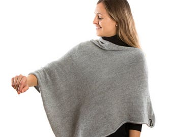 Dove Grey Lambswool Knit  Poncho . Minimalist Boat Neck Grey Cape Coat. Supersoft Travelling Wrap .Luxurious gift for mom
