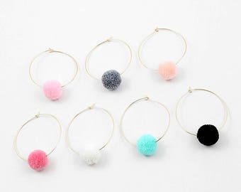 Pom pom hoop earrings, pom pom earrings, pom pom jewelry, earrings, fiesta earrings, colorful earrings, party earrings, summer earrings, fur