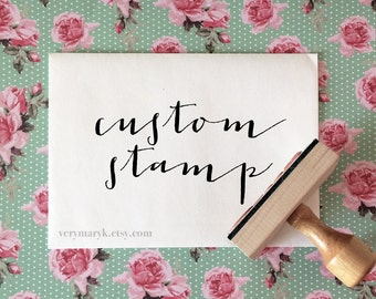 Custom Rubber Stamp, Custom Logo Stamp, Personalized Rubber Stamp with optional wooden handle. YOUR LOGO / ART on a Rubber Stamp!