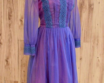 1960s Bright Purple Party Dress, Sixties Fit & Flare w/ Purple Overlay, Pin Tucked Sheer Sleeve Dress with Floral Applique on Bodice,