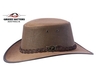 OUTBACK GENUINE Cowhide LEATHER Squashy Bush Hat with Mesh Ventilation - Australian Outback Hat in Dark Tan Colour - Golf Hat - Gift for Him