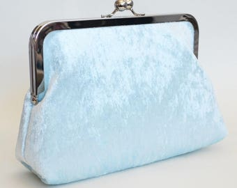 CLUTCH in Blue Crushed Velvet - SMALL