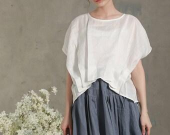 Loose White Linen Shirt (8 colors), Pintuck folded blouse, white blouse, oversized linen blouse tops, asymmetrical blouse, plus size shirt