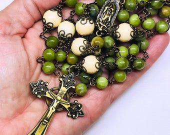 Catholic 5 Decade Rosary, Unbreakable Rosary, Heirloom Rosaries, Green Taiwan Jade, Bronze Crucifix & Our Lady Center, Faith, Prayer Beads