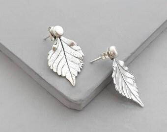 Sterling Silver Ear Jacket Earrings - Front Back Earrings - Jacket Earrings - Silver Stud Earrings - Leaf Earrings - Double Sided Earrings
