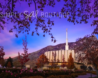 Provo LDS Temple Photograph - November Night - Digital Download - Printable