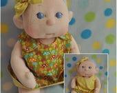 "SALE! Fretta's Flower BeBe Doll. 40.6 cm / 16"" Soft sculpture Baby Girl. Reversible Dress Girl Doll. Child Friendly Cloth Baby Doll."